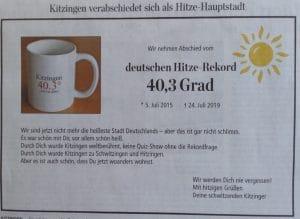 Kitzingen ist nicht mehr der Rekordhalter