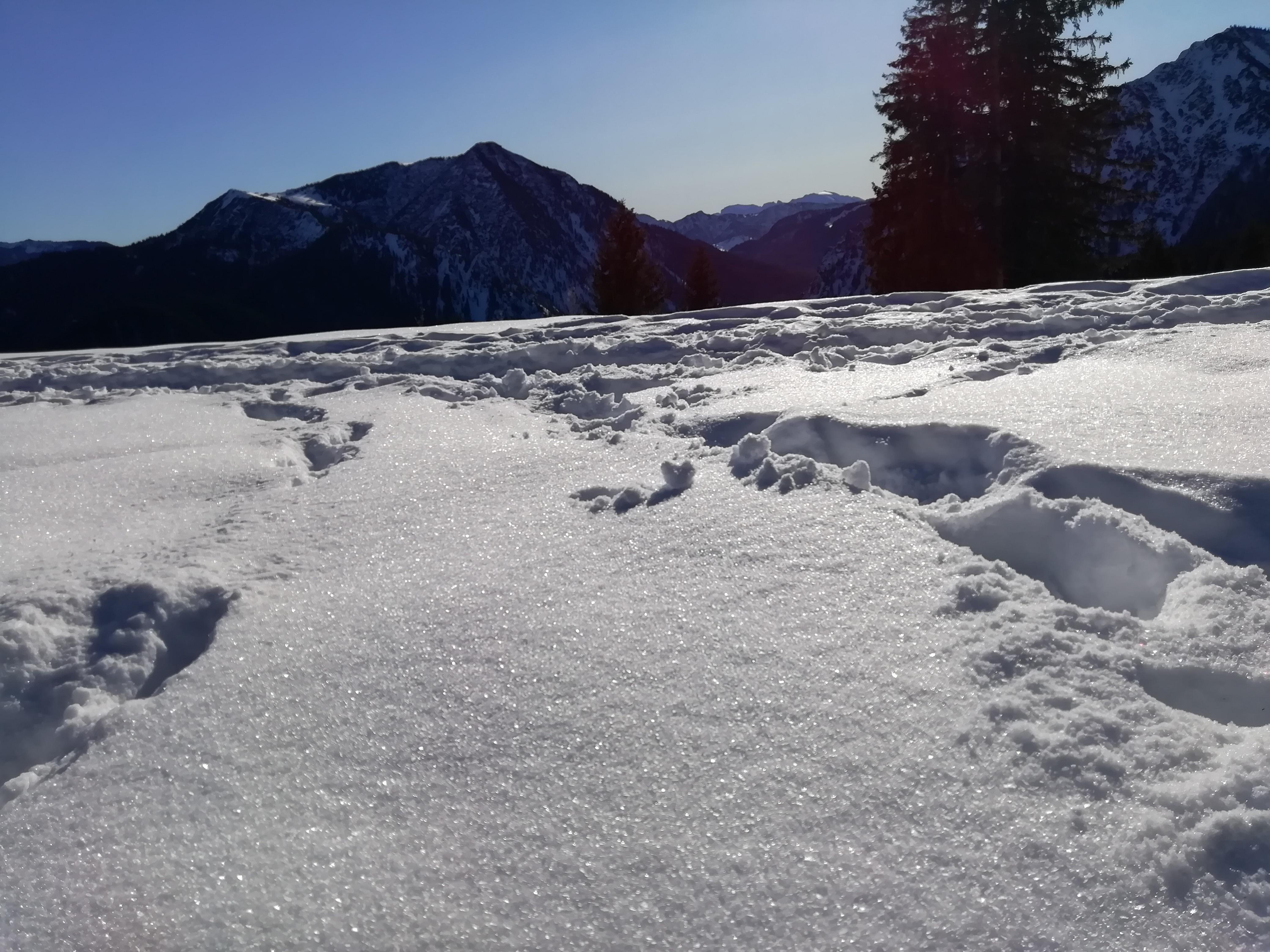 Verdunstungskälte. Der Schnee schmilzt nicht.